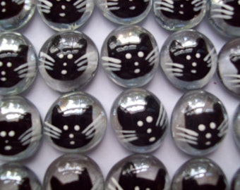 Glass Gems Handpainted Black cat faces Art for crafts decorations party favors