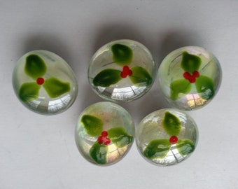 Hand painted glass gem magnets party favors holly with berries christmas