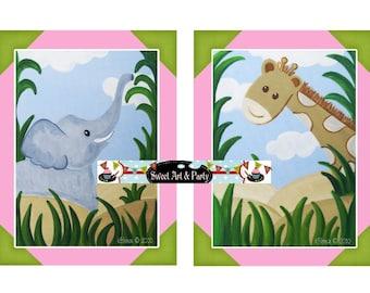 Instant Download Print Jungle animals Elephant Giraffe art print pink green girl nursery wall art decor set of 2 two