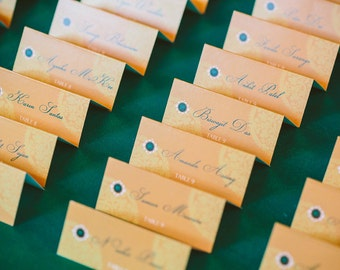 Set of 50 Escort Cards-Emerald Collection