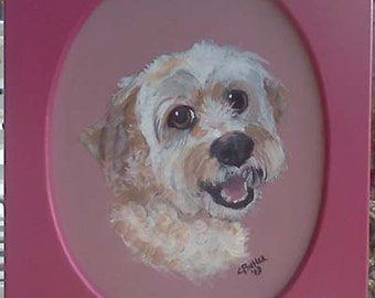 Pet Portraits in an oval, rectangular,framed plaque, acrylic on wood,unusual pet portrait,pet lover gift