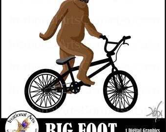 INSTANT DOWNLOAD Big Foot riding a bike BMX Sasquatch Yeti