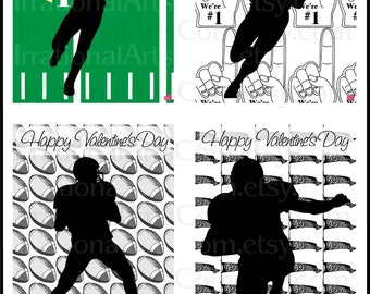 Valentines Day Cards Football set 1 - for kids classroom exchange DIY Printing Valentine Boy silhouettes JPG format(Instant Download}