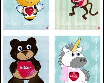 Sweet Valentines Day Cards - for kids class exchange DIY Printing monkey bear bee unicorn sheep panda cat heart Jpg & Pdf[Instant Download]