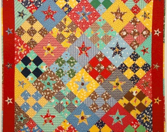 Tin Star or Buttons and Bows Quilt Pattern - Great for Kids - PDF Format