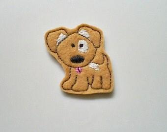 Tan Puppy Applique, Felt Puppy Applique, Puppy Applique,  Set of 4 Felt Embroidered Appliques