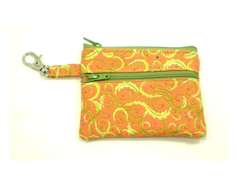Small Zippered Wallet Change Purse Gadget Case  Orange with Lime Green Swirls