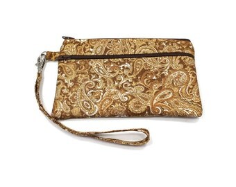 Smartphone iPhone Cell Phone Case, Double Pocket Wristlet, Detachable Strap, Gold Paisley