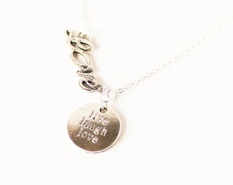 Handwritten love word live laugh love silver charm necklace