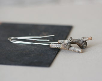 Long Segment Earrings - Sterling Silver and Recycled Wood Earrings