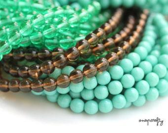 50pc strand 6mm round czech glass beads / turquoise or smoke czech bead strand