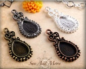 20 Pieces Small Vintage Earring or Pendant Setting Vintage Design Settings Cute Earrings For A Small Pendant With Teardrop Filigree Tray