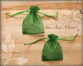 10 Organza Bags Forest Green 3x4 Sheer Fabric Favor Bags, Wedding Favors, Baby Showers, Bridal Showers, Jewelry Pouches Satin Drawstring