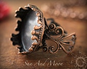 1 Princess Filigree Ring Base NO GLASS Insert-Antique Copper Adjustable Rings-20mm Setting Ring Blanks Bezel-DIY-Crystal Clear Glass