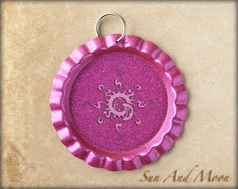 100 ~ Hot Pink Flattened DOUBLE SIDED Factory Painted Linerless Bottle Caps With Split Ring Attached ~ Great With Our Circle Resin Drops