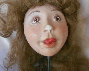 DOLL FACE HEAD, Vintage hand painted mannequin face, curly hair, great character, prop