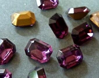Vintage Amethyst 8x6mm Table Top Octagon Crystal Stones (6)