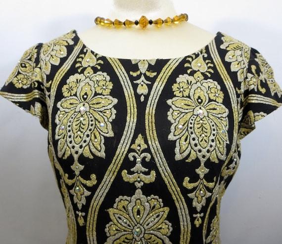 RESERVED Vintage Mod 60s Mini Dress Black and Gold Brocade 1960s MadMen era A Line Med - Large