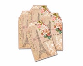 Paris Gift Tag, Paris Rose Tags, Paris Tower Tags, Bridal Shower, Paris Flea Rose Gift Tags, Little Something Tag, Gifts for Her, Paris Chic