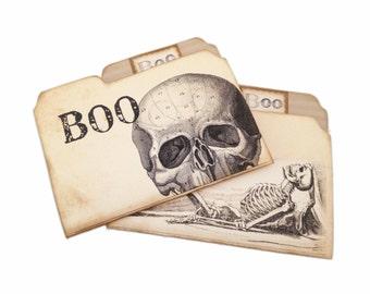 Halloween Skull Journal, Mini File Folder, Mini Skeleton File Folder, Party Favor, Halloween Organizer