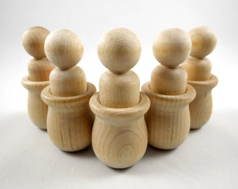 6 Peg Dolls Bean Pot Set - Waldorf - Montessori Toys - Unfinished Wooden Peg Dolls in Bean Pots for DIY