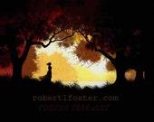 romantic art print,  landscape, forest fantasy, lover waiting ,romance, seclusion, in love, warm painting, quiet glen, dark woods art,