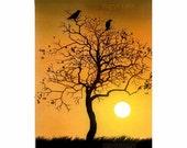 crow art, raven art, crow print, raven painting, raven print, sunset, sunrise, twisted tree branches,  limbs, crow perch