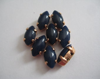 Lot of 6 10x5mm Navy Blue Navette W. German Rhinestones in Red Brass Sew on Settings