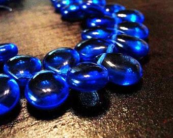 12x16mm Sapphire Blue Czech glass teardrops 4 beads GT-630