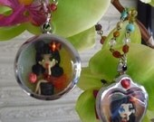 One OOAK Miniature Polymer Clay Shadowbox Pendant Zombie Pin Up Shadowbox Necklaces 1 Left