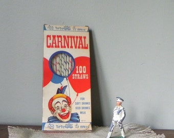 Vintage Carnival box and drinking straws - approximately 55 straws