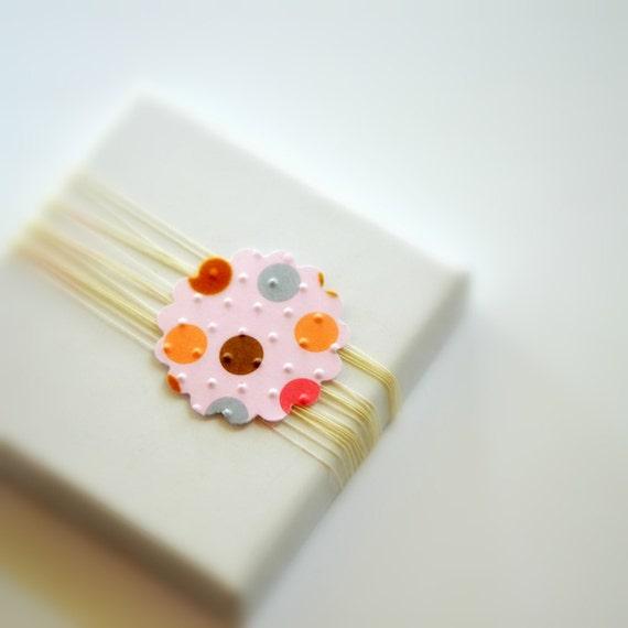 10 Confetti Pink Scalloped Dots Circle Stickers Seals Destash