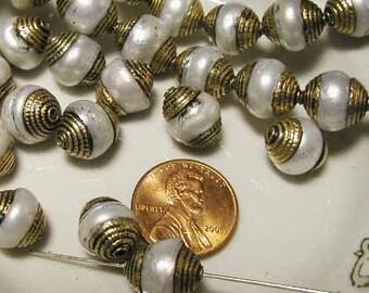Pearl Brass Bead - Nepal - 6 pcs.