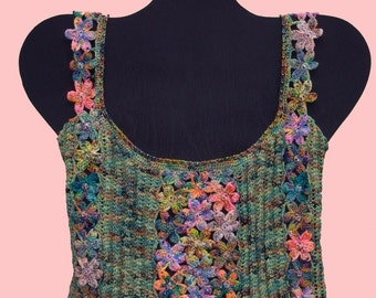 Monet's Garden Camisole Pattern, Knitted with Crocheted Flower Panels via Download