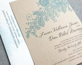 Lauren Kraft Lace Wedding Invitation Sample - Recycled Rustic Card Stock - Green, Charcoal, Teal or Navy Lace