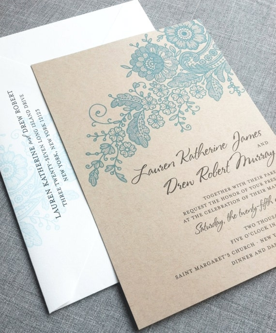 Recycled Wedding Invitations: Lauren Kraft Lace Wedding Invitation Sample Recycled Rustic