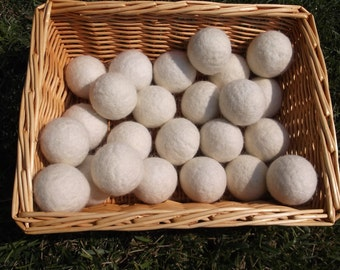 Set of 4 White Wool Dryer Balls, 100% Natural, Organic, Eco-Friendly, White Felted, Hand Made, Soften Clothes, Reduce Static, READY TO SHIP!