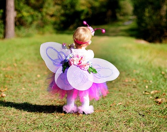 Flower Fairy Tutu - Super cute 3pc girls Tutu, Flower Wings and Flower Bow - Perfect for Halloween Costume, Birthday, Photos