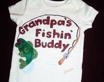 Fishin Buddy Baby Bodysuit, Grandpas Fishing Buddy Baby Outfit, Custom Baby Boy One Piece, Baby Boy Clothing