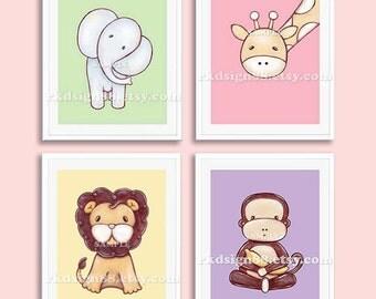 "Baby girl nursery decor, nursery art print, ""safari animals"" , kids wall art, baby decor, elephant, lion, giraffe, monkey, Set, 4 prints"