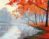 AUTUMN OIL PAINTING  lake painting contemporary art impressionist landscape