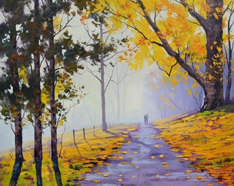 Yellow trees Oil Painting Autumn Painting Fall landscape road trail art decor Graham gercken