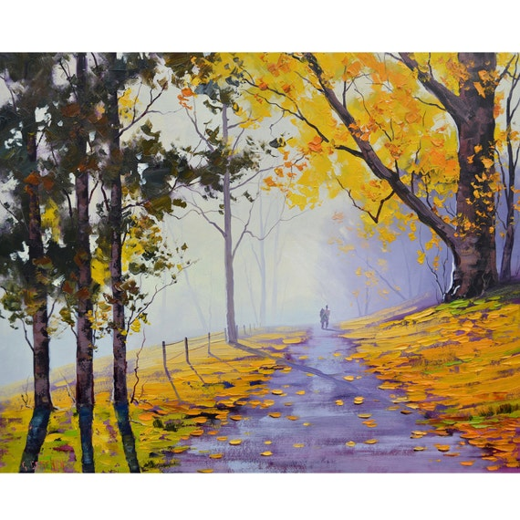 Yellow trees oil painting autumn painting fall landscape road for Autumn tree painting