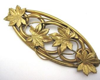 Vintage Victorian Leaf Brooch - Brass