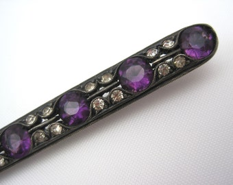 Amethyst Glass Brooch - Antique Sterling Silver Paste Jewelry