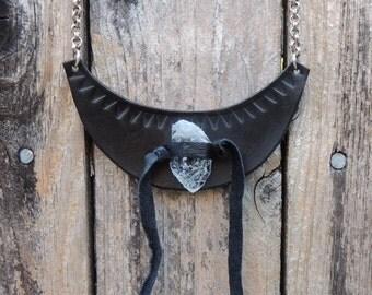 Black Tooled Leather Quartz Fringe Bib Necklace by HEXEREI