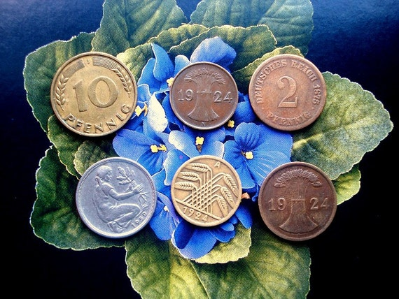 6 Antique German Coins 1875-1950