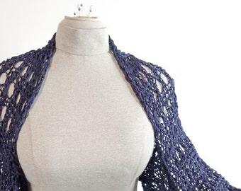 Hand Knit Shrug in Navy Cotton Size Medium - Item 1345