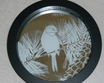 Etched Mirror with White or black bird in pines