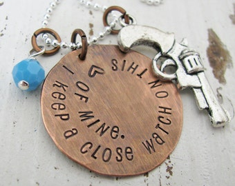 rustic I keep a close watch on this heart of mine hand stamped copper and silver necklace